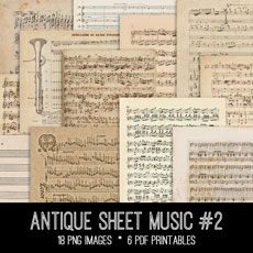 Antique Sheet Music Images Kit! Graphics Fairy Membership