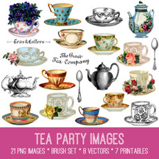 Tea Party Images Kit! Graphics Fairy Premium Membership