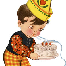 Vintage Cute Birthday Boy Blowing Candles Graphic!