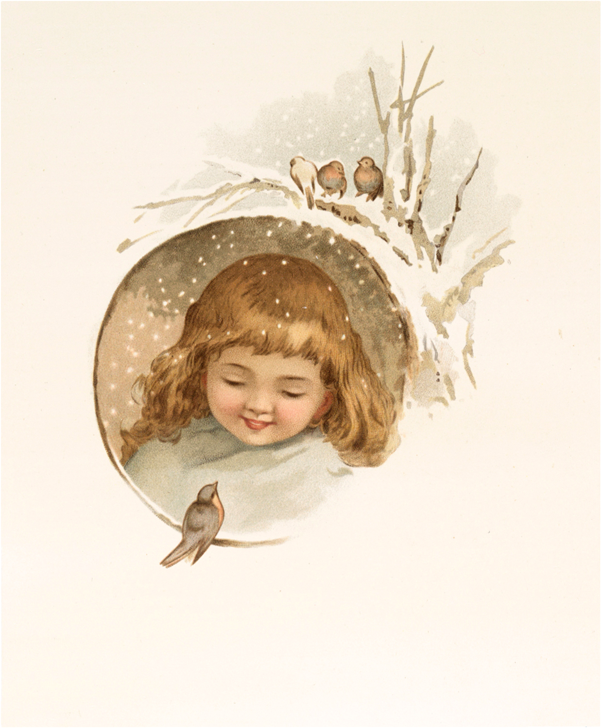 Snow Girl with Birds Image
