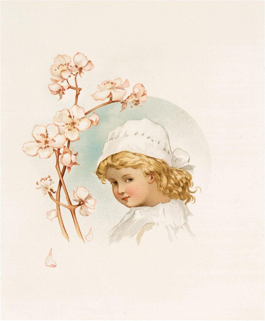 Nostalgic Child with Flower Frame Graphic