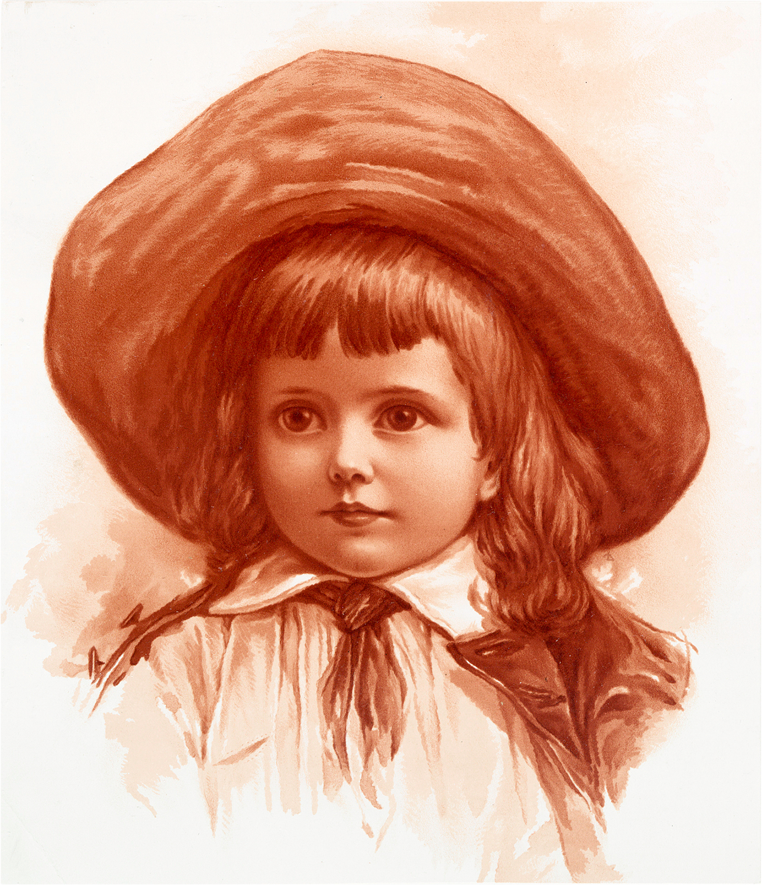 Vintage Child in Wide Brimmed Hat Sepia Image