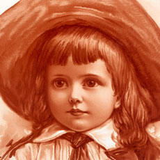 Vintage Child in Wide Brimmed Hat Sepia Image!