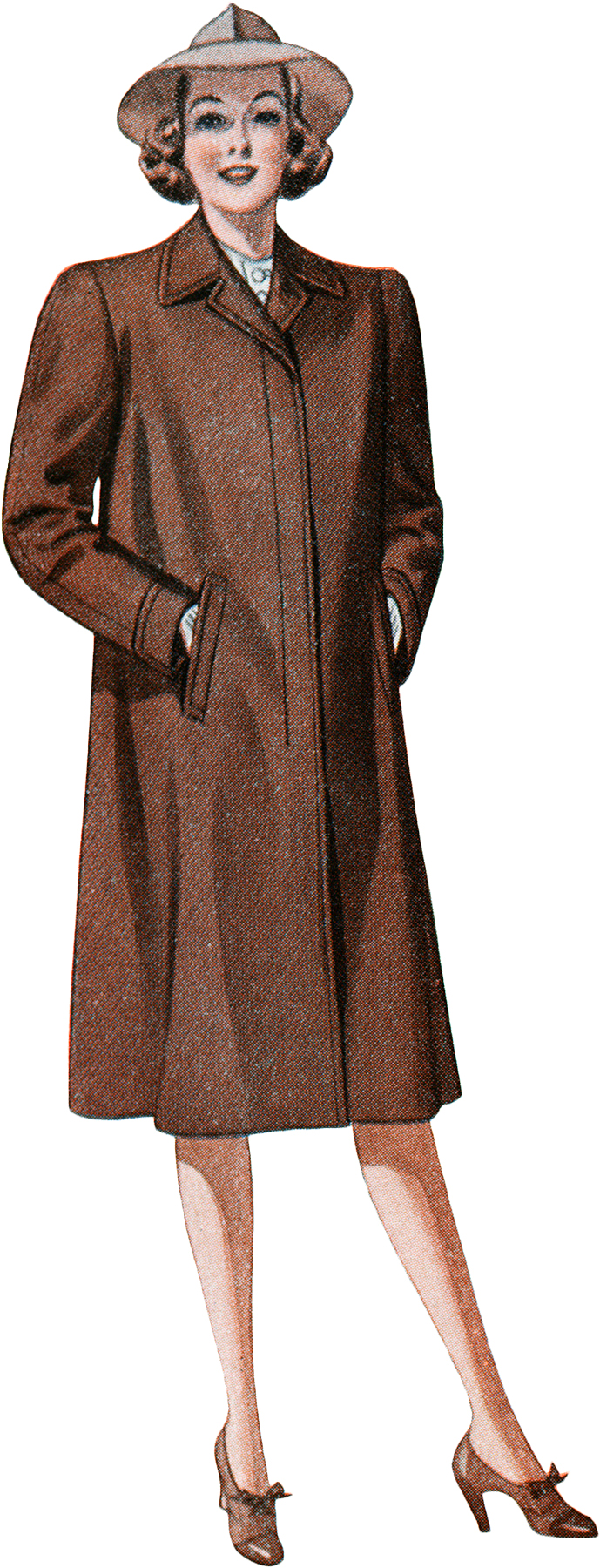 Retro Forties Women's Coat and Hat Graphic