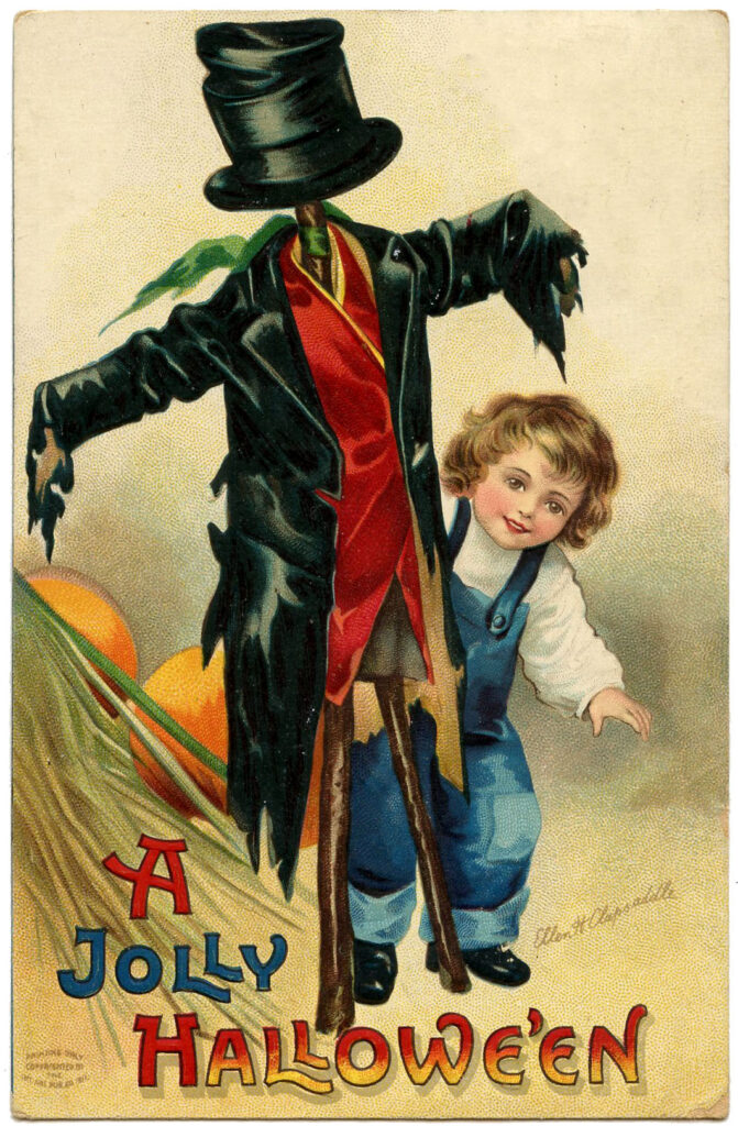 Halloween Kids with Scarecrow Image