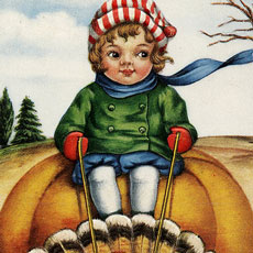 Nostalgic Turkey Pulling Child on a Pumpkin Cart Graphic!