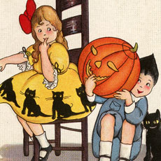 Vintage Halloween Greeting with Children Post Card!