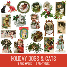 Holiday Dogs & Cats Image Kit! Graphics Fairy Premium Membership