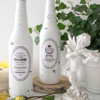 DIY Painted and Distressed French Bottles project + free printable!