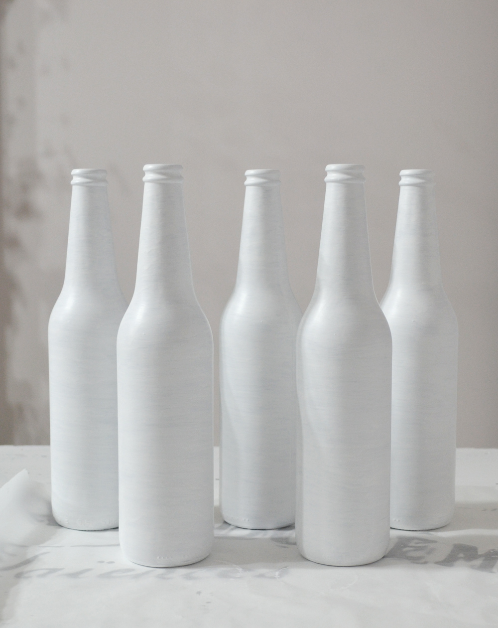 DIY Painted and Distressed French Bottles project + free printable