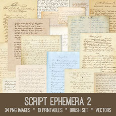Script Ephemera 2 Images Kit! Graphics Fairy Membership