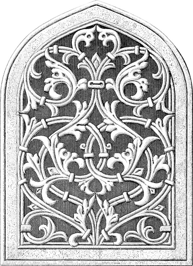 Architectural Stained Glass WIndow Clipart