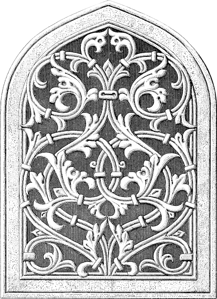 Old Gothic Arch Window Architectural Drawing