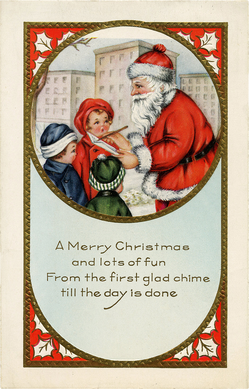 Vintage Card with Santa and Children Image!