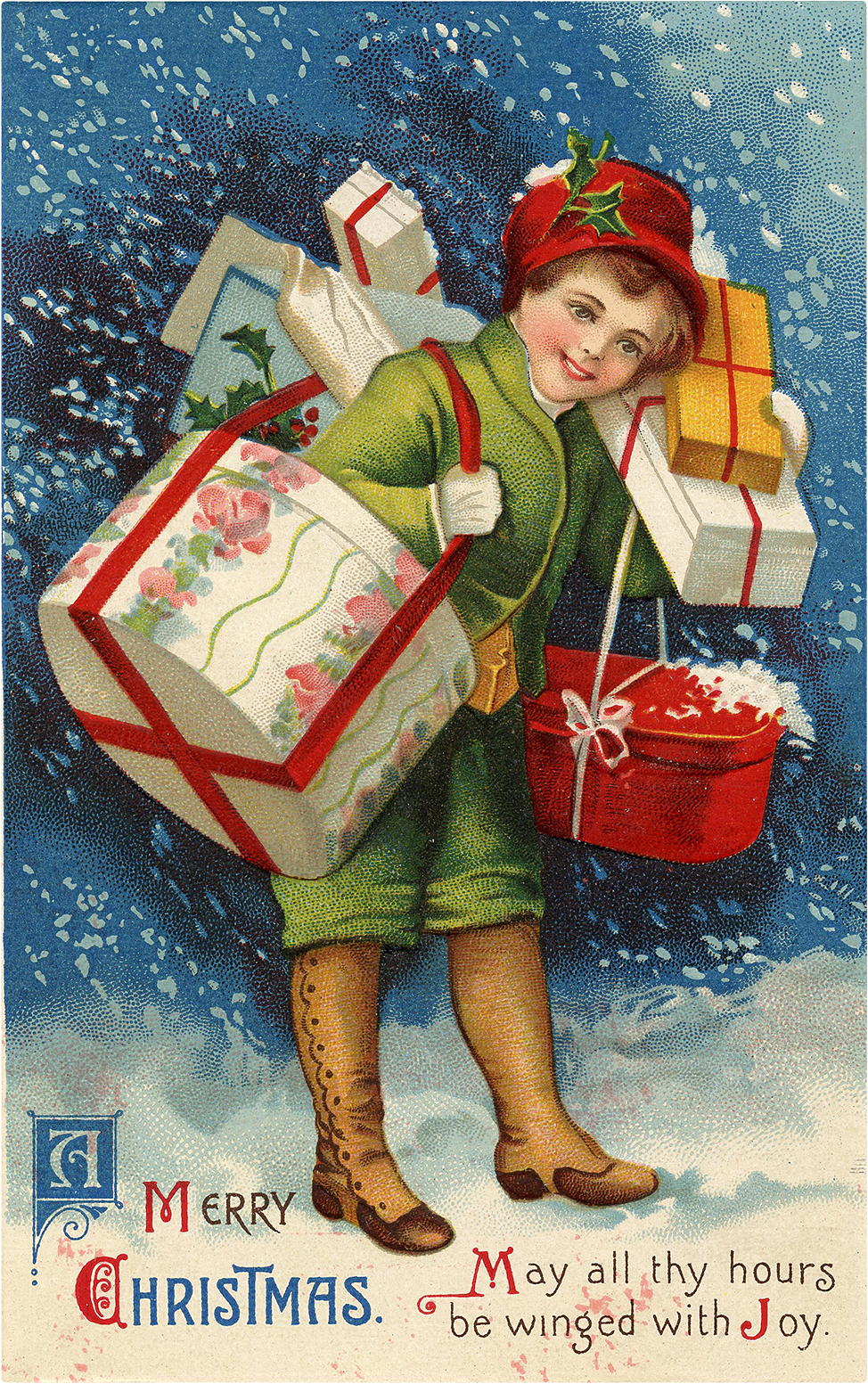 Nostalgic Child Carrying Christmas Presents Graphic! - The Graphics ...