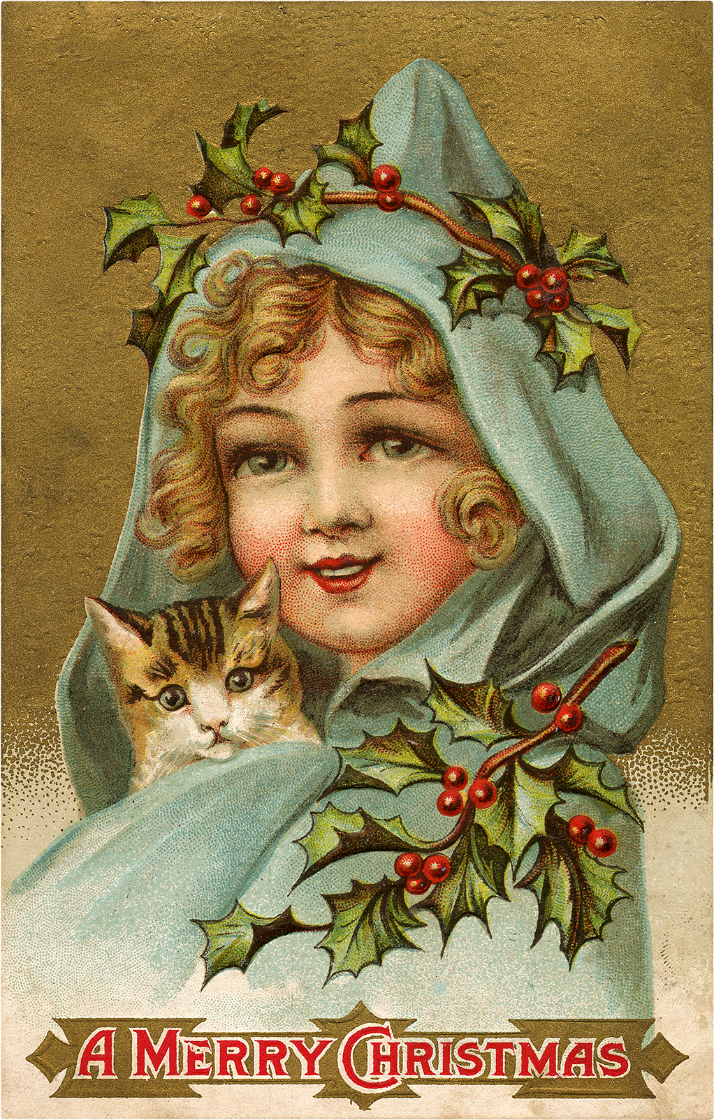 Old Cute Girl and Cat Christmas Image!