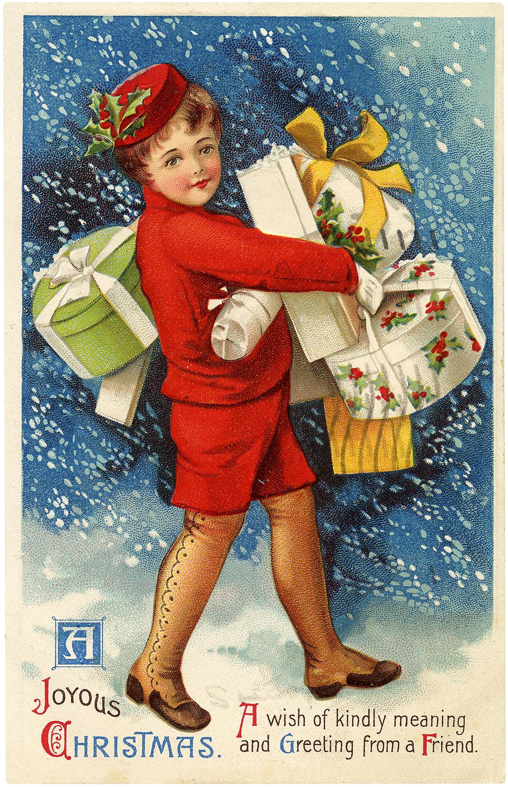 Nostalgic Christmas Delivery Boy Postcard!