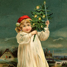 Nostalgic Child Carrying Christmas Tree Graphic!