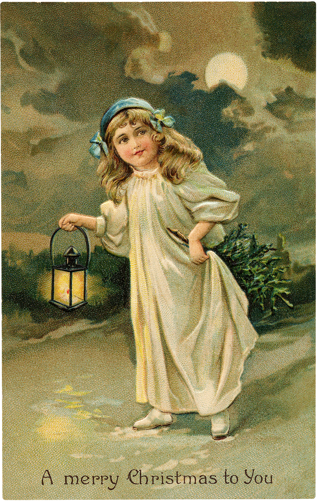 Vintage Girl Carrying Lantern Christmas Postcard!