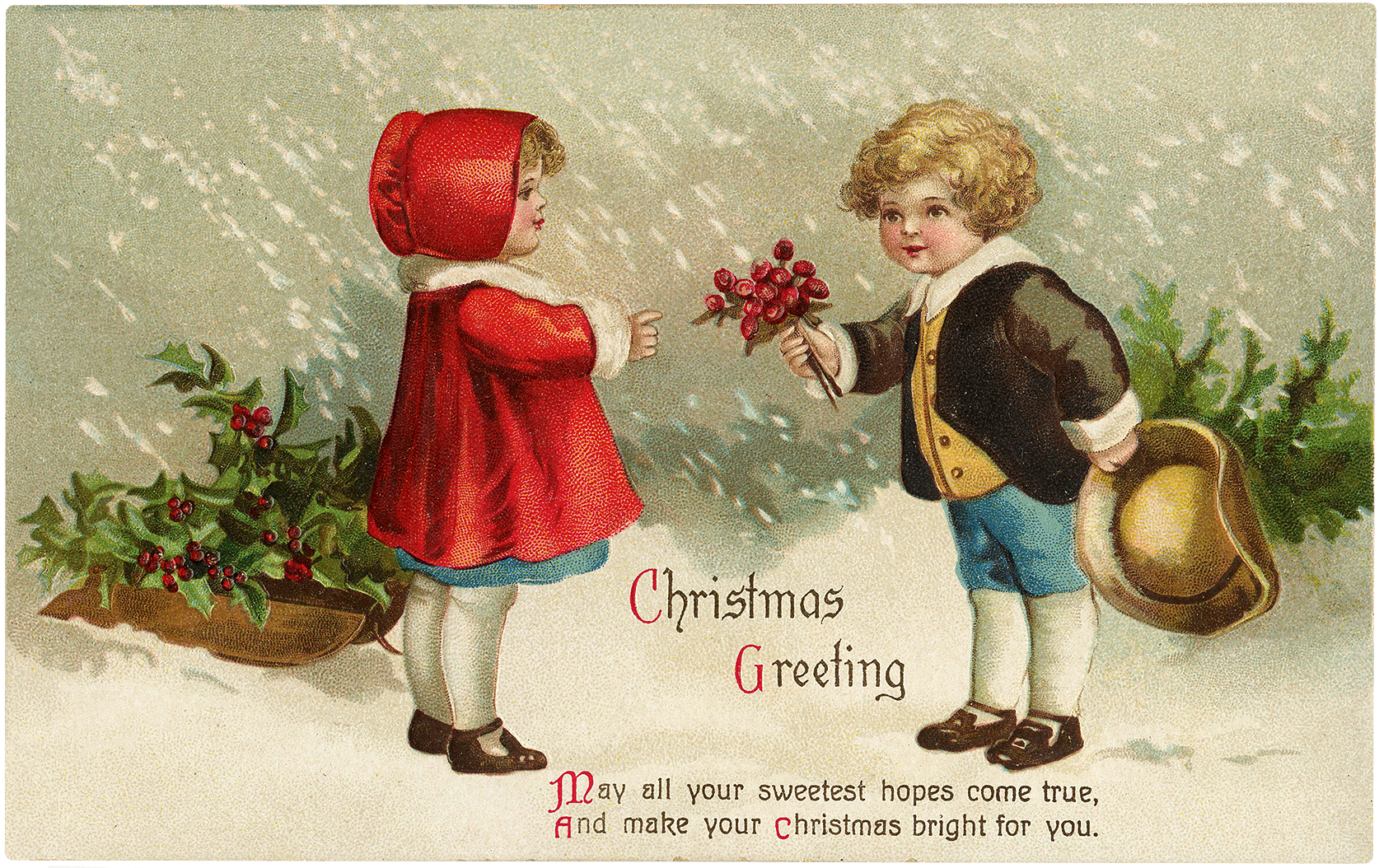 Nostalgic Boy and Girl with Christmas Bouquet Image!