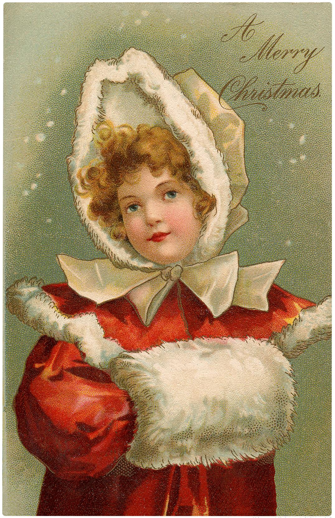 Vintage Girl with Fur Muff Christmas Image!