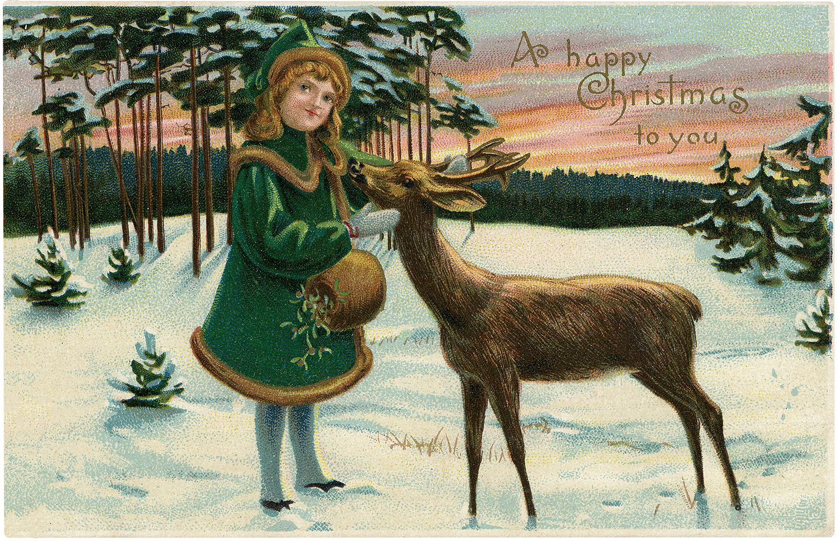 Vintage Girl with Deer Christmas Postcard!