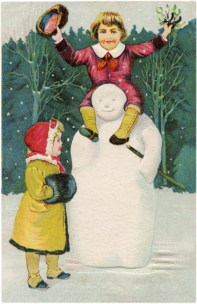 Christmas Kids on Snowman