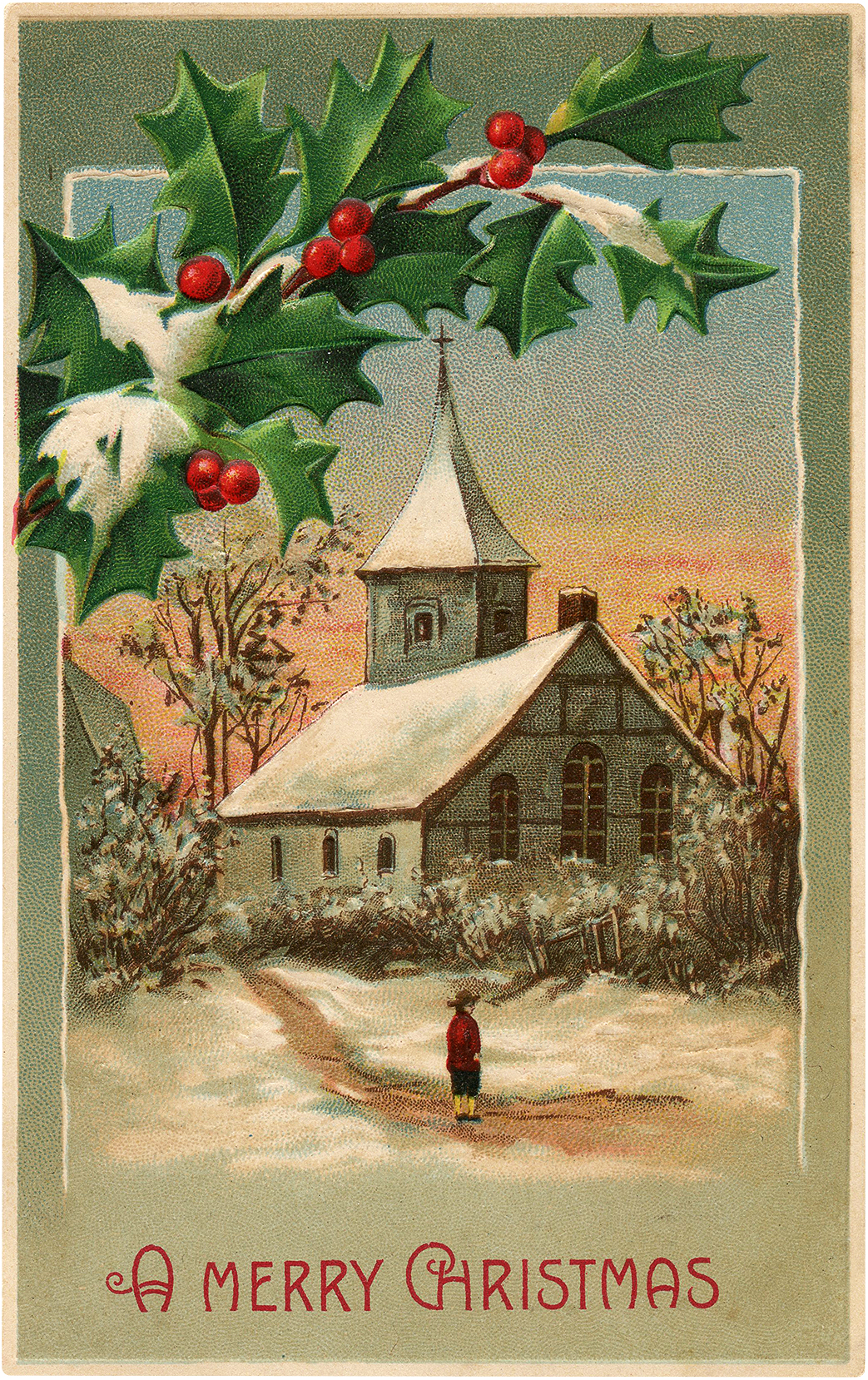 Old French Church at Christmas Image!