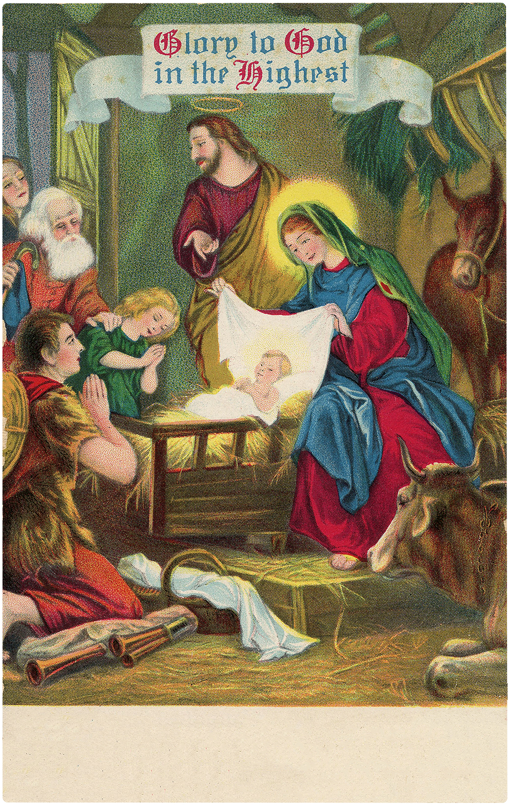 Old Christmas Glory Manger Scene Graphic!