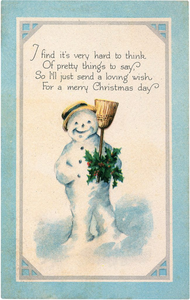 Best Snowman Images Christmas with Holly and Broom