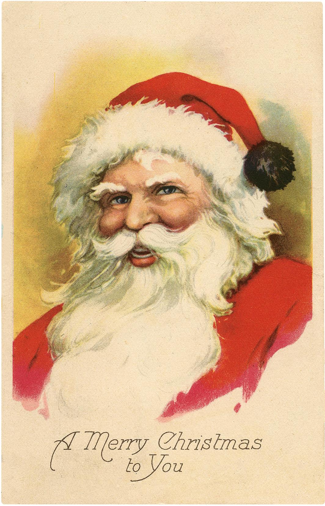 Nostalgic Jolly Santa Portrait Postcard!