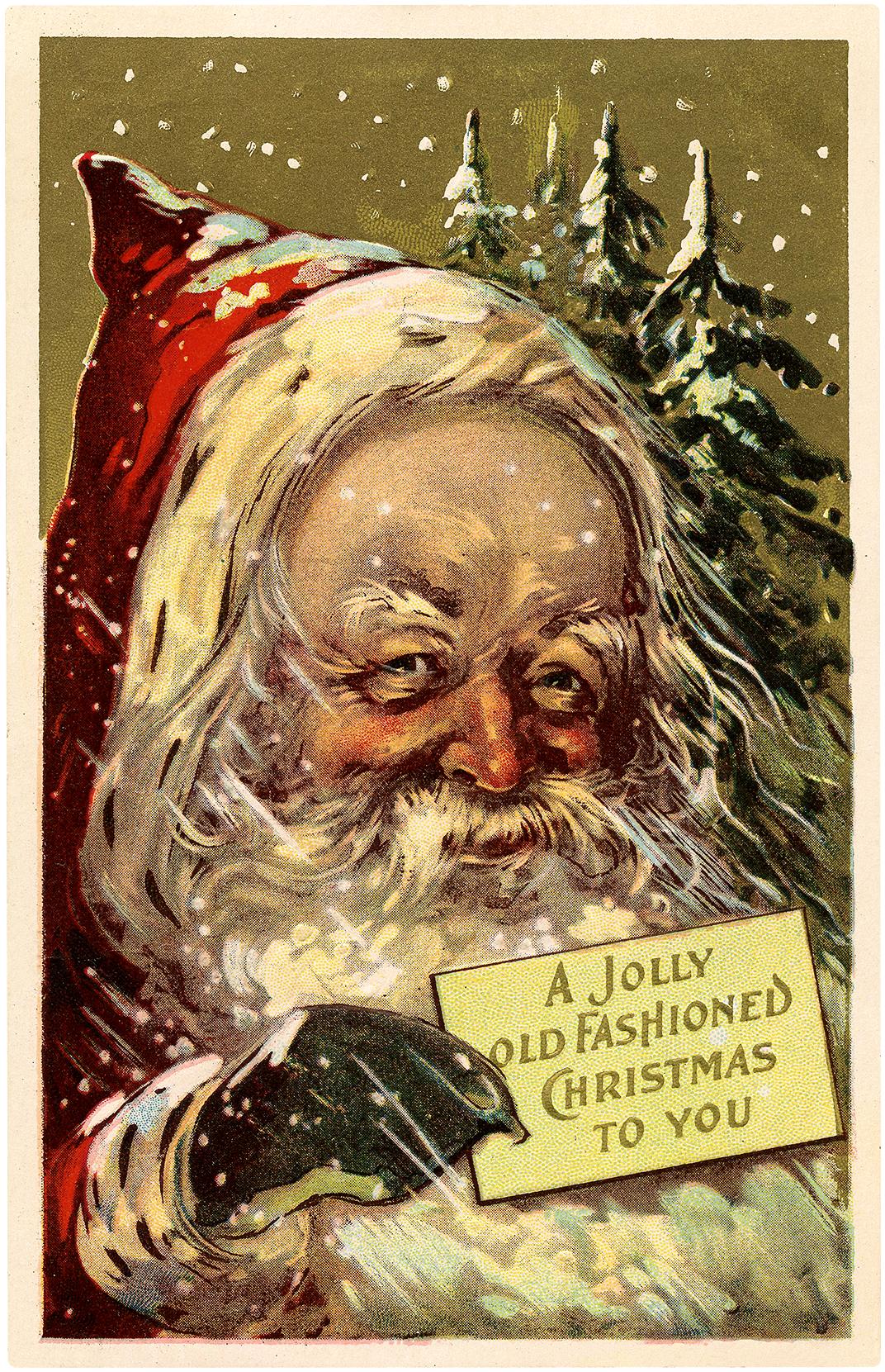 Old Fashioned Santa Christmas Wish Postcard!