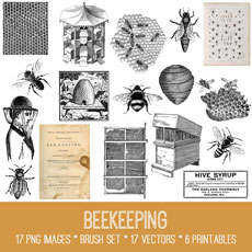Beekeeping Images Kit! Graphics Fairy Membership