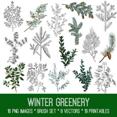 Winter Greenery Image Kit! Graphics Fairy Premium Membership