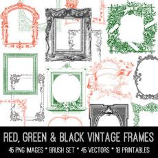 Red, Green & Black Vintage Frames Image Kit! Graphics Fairy Premium Membership