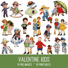 Valentine Kids Image Kit! Graphics Fairy Premium Membership