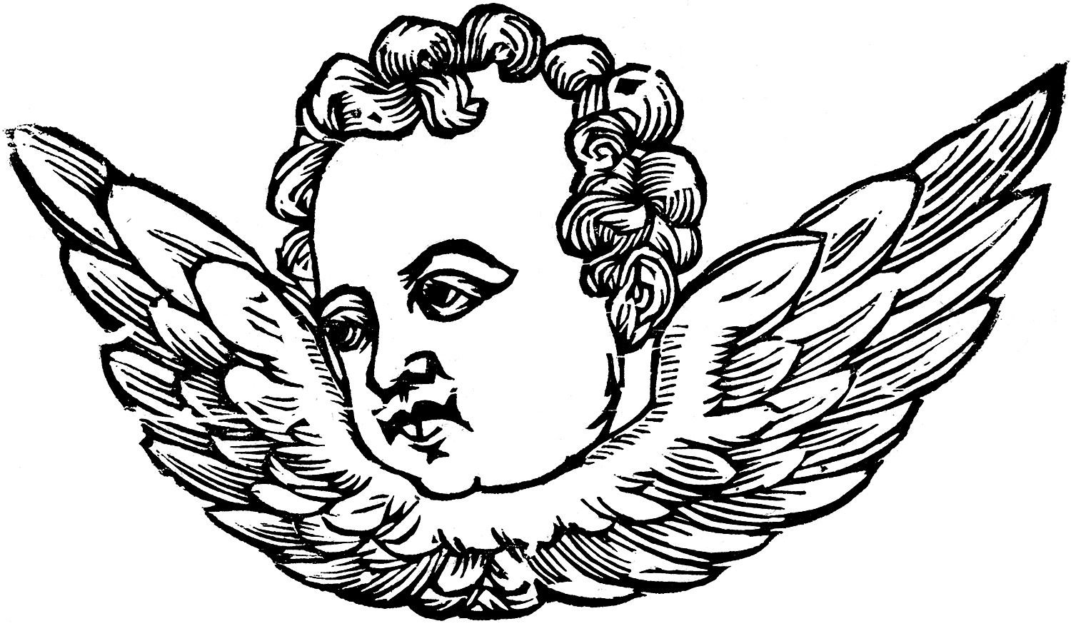 Vintage Serious Cherub with Wings Image