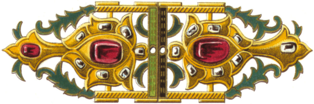 Stunning Vintage Jewelry Green, Gold, Ruby Brooch Image