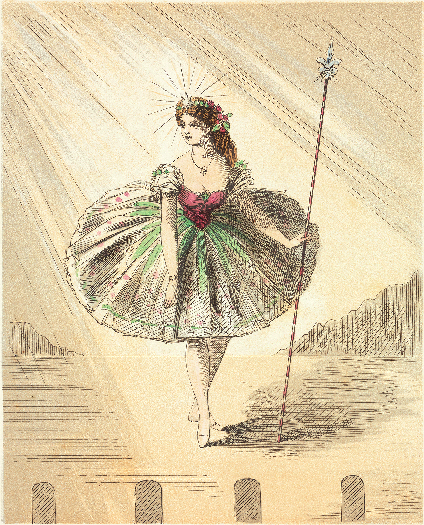 Vintage Dance Girl in Pouf Tutu Sketch