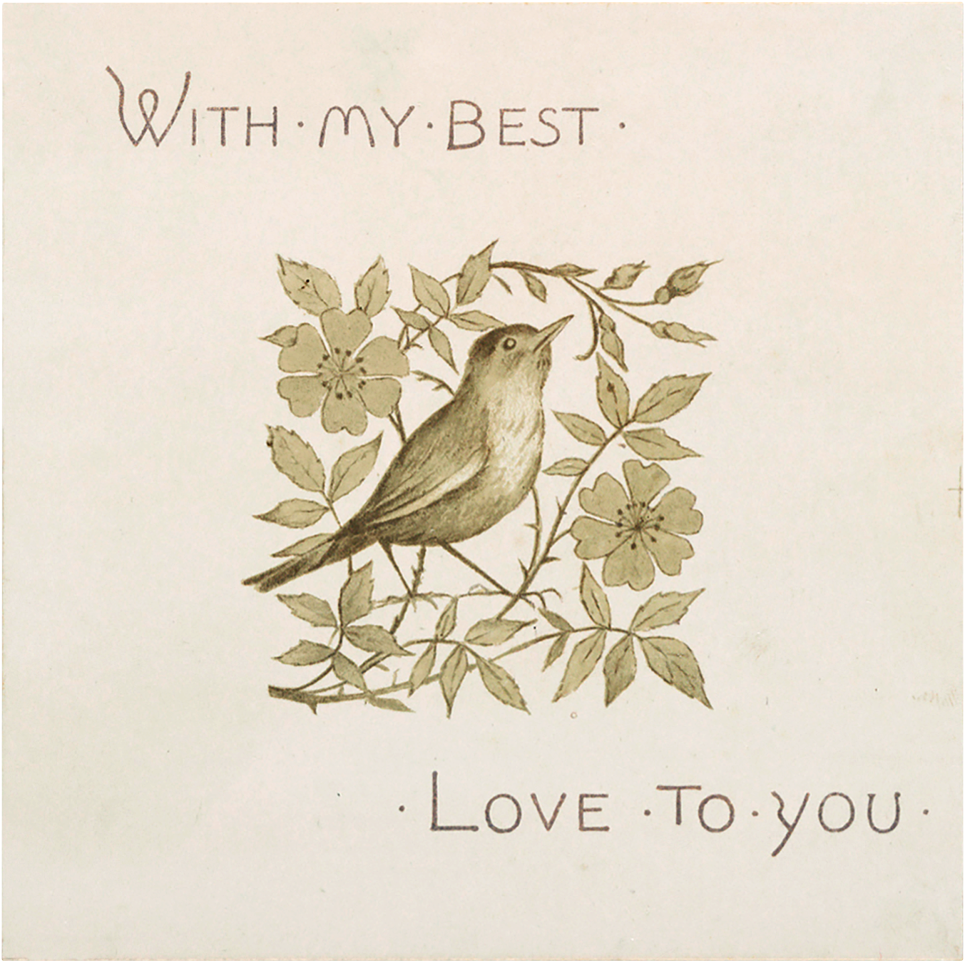 Vintage Bird in Flower Branch Valentine Graphic