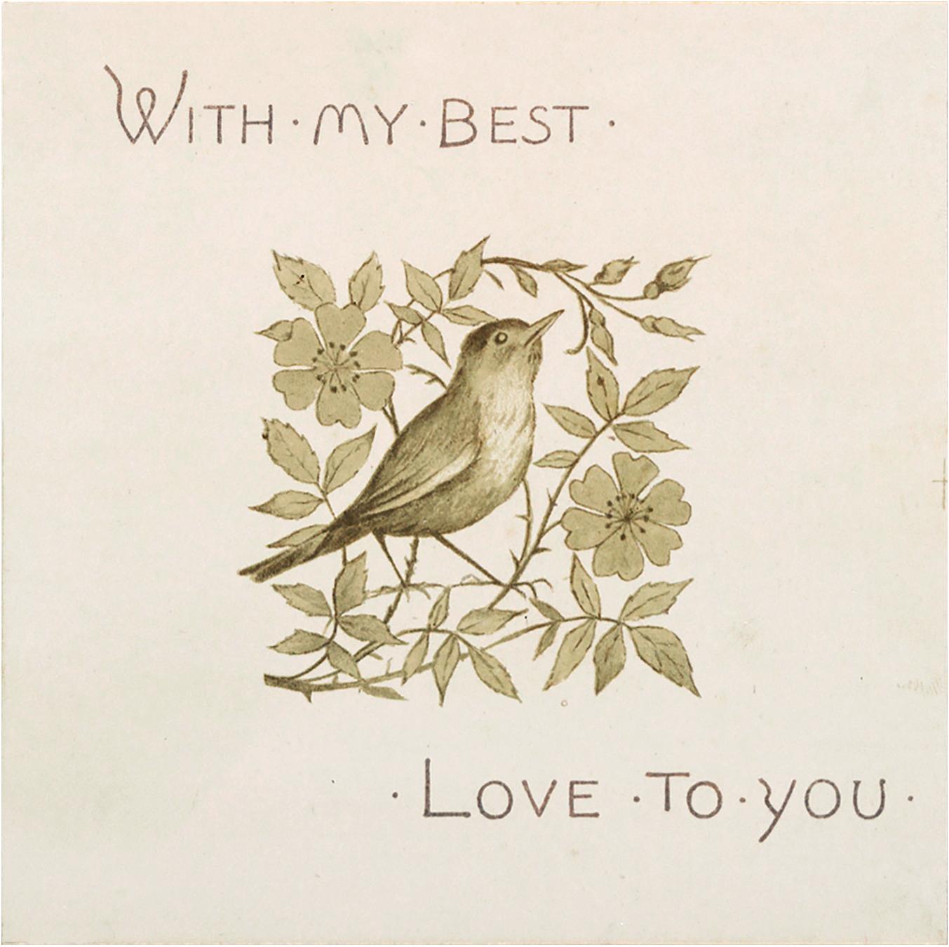 Vintage Bird in Flower Branch Valentine Graphic