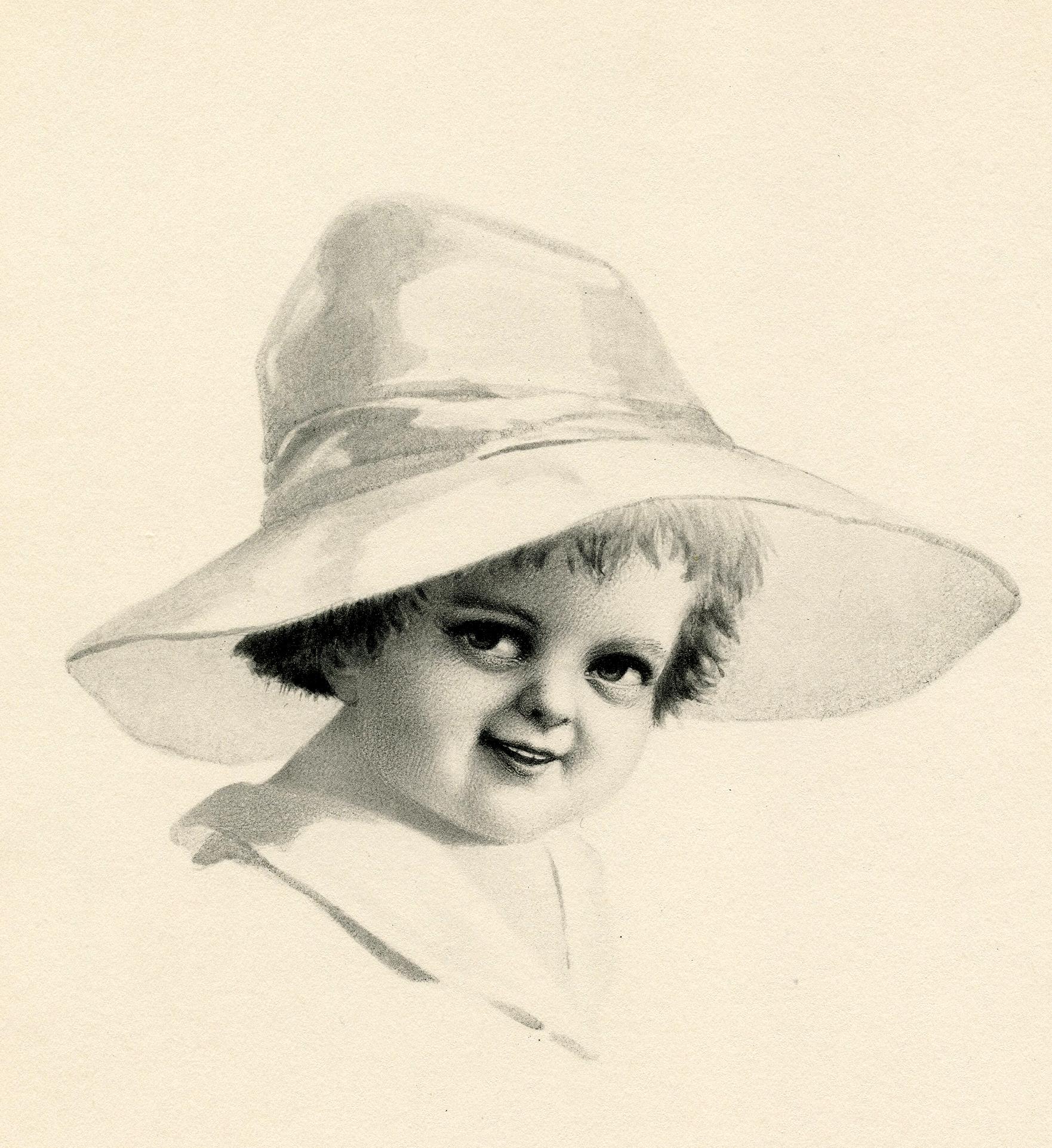 Vintage Smiling Child in Wide Brim Hat Image