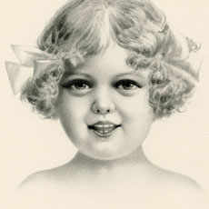 Vintage Pencil Portrait of Happy Girl Image!