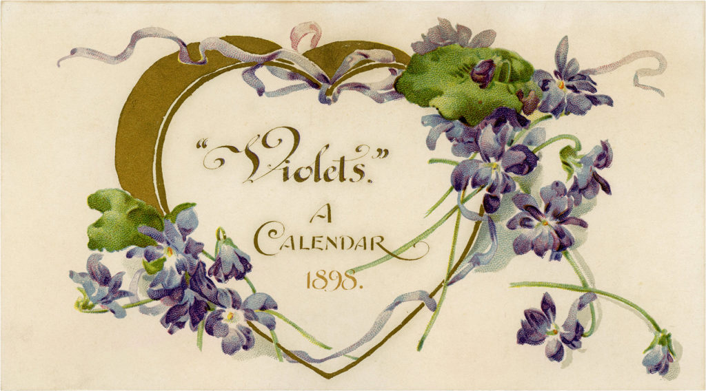 1895 Printable Violets Calendar Cover with Heart
