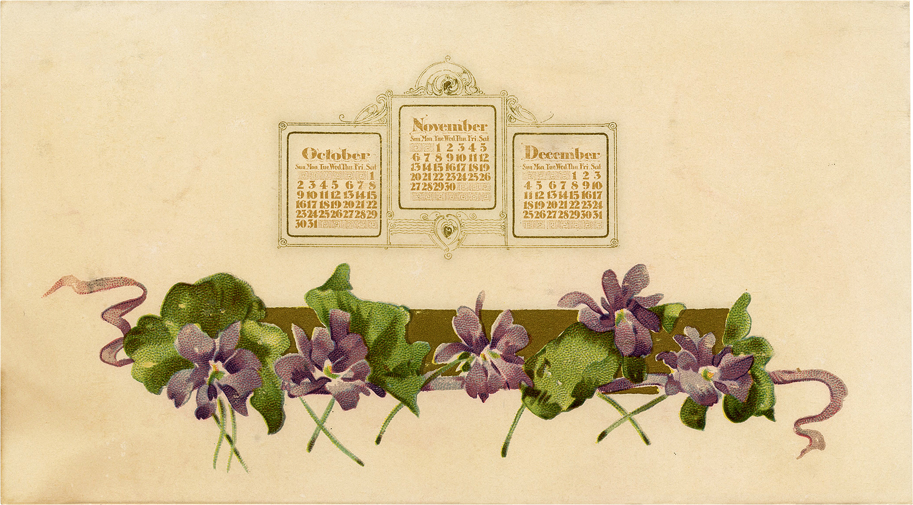 Beautiful Nostalgic Violets and Ribbons Calendar Graphic
