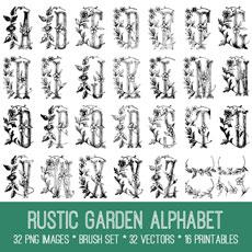 Rustic Garden Alphabet Images Kit! Graphics Fairy Premium Membership