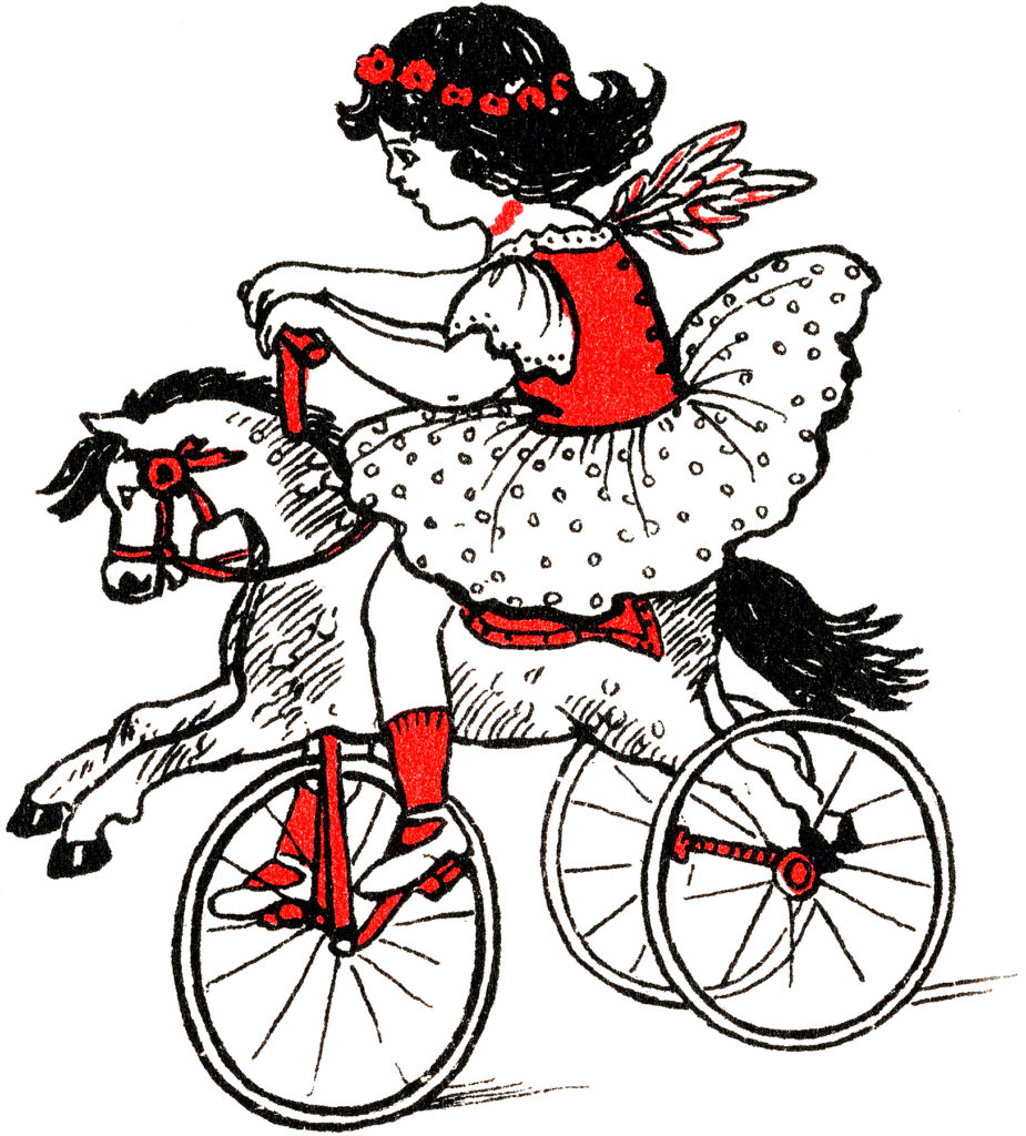 Cute Girl Riding a Vintage Horse Tricycle Graphic!