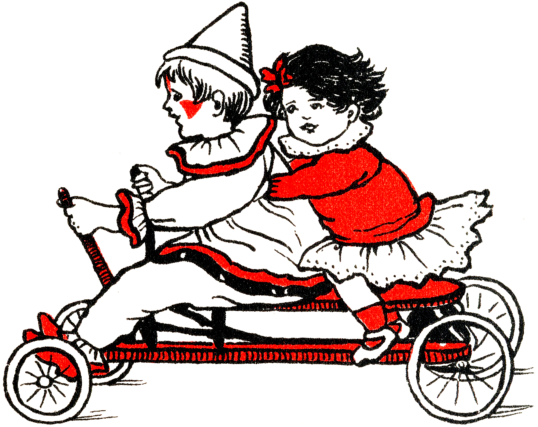 Cute Nostalgic Clown and Girl Riding a Cart Graphic!
