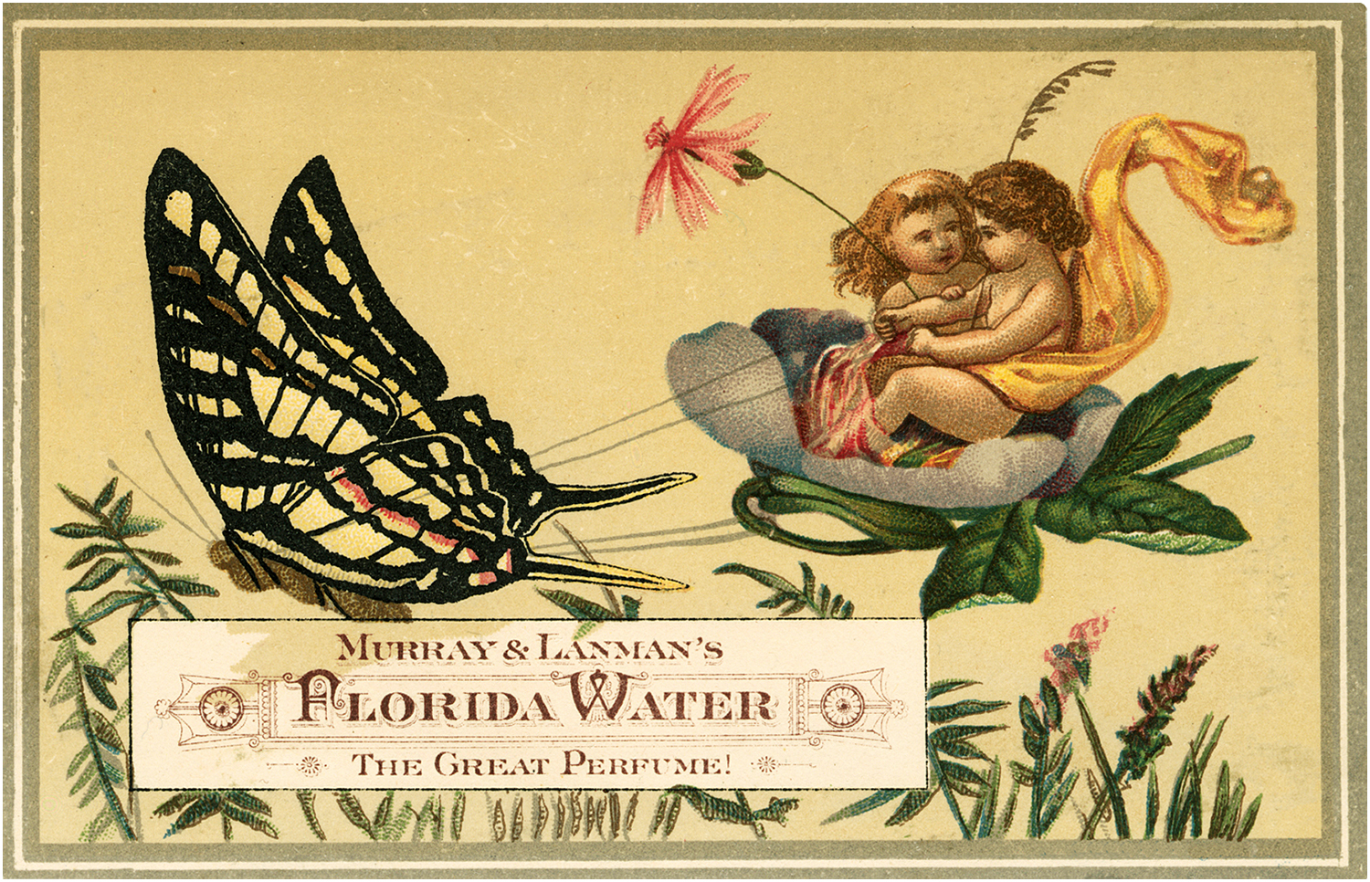 Vintage Snuggling Fairies and Butterfly Perfume Label!