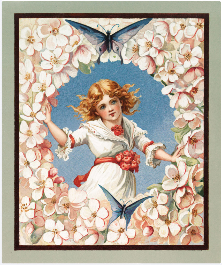Vintage Beautiful Flower Girl with Blue Butterflies Image